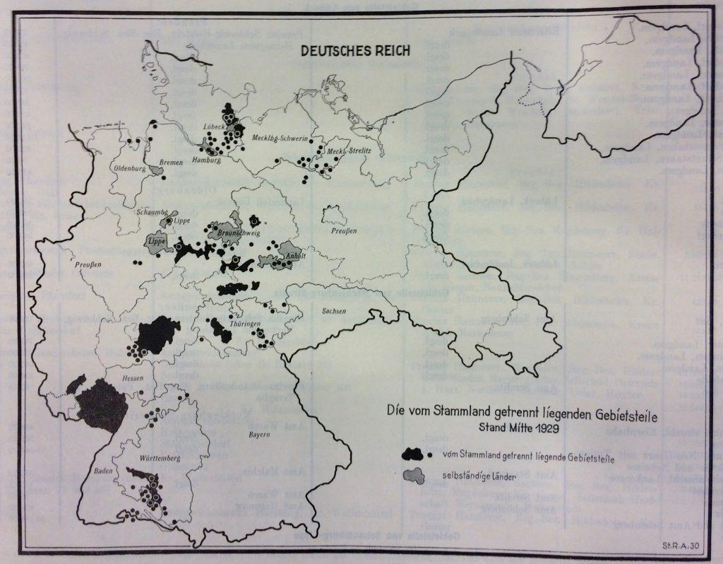 Getrennt liegende Gebietsteile (Stand: 1929)