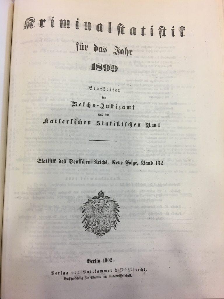 Kriminalstatistik für das Jahr 1899: Titel und Ausschnitt